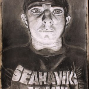 Charcoal Self Portrait (Extreme Lighting)
